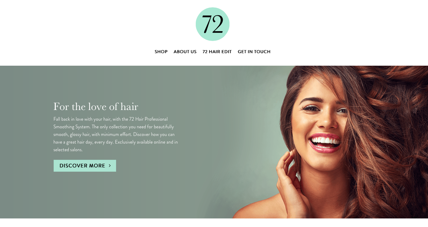 72hair homepage written by freelance copywriter Becky Pink