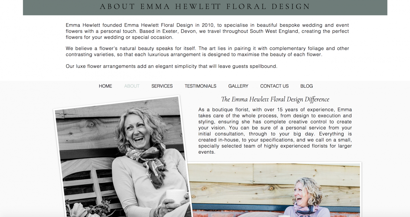 Emma Hewlett Floral Design About Page written by freelance copywriter Becky Pink