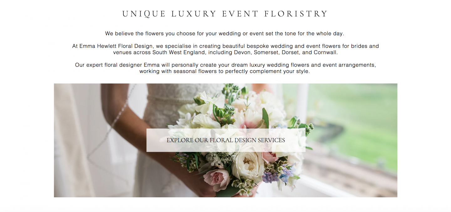 Emma Hewlett Floral Design Home Page written by Becky Pink freelance copywriter