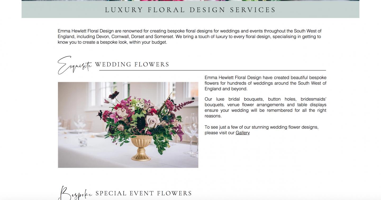 Emma Hewlett Floral Design Services Page written by Becky Pink freelance copywriter