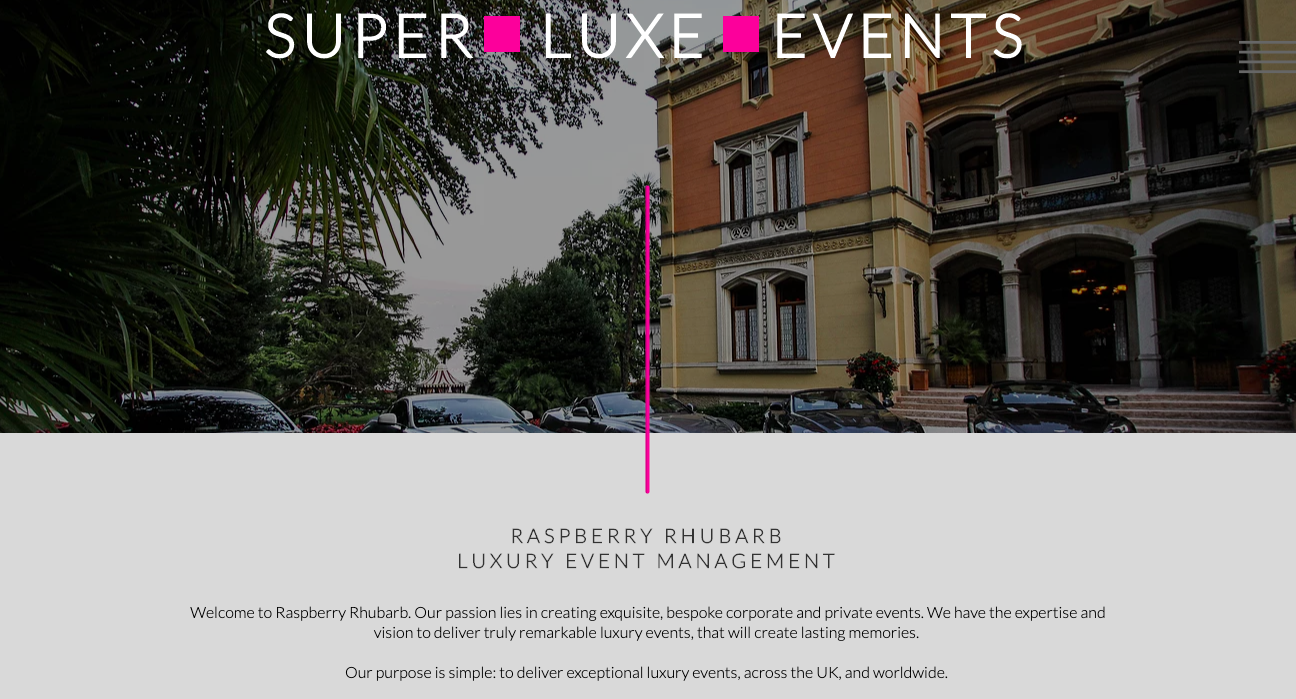 Raspberry Rhubarb Luxury Event Management Home Page written by Becky Pink