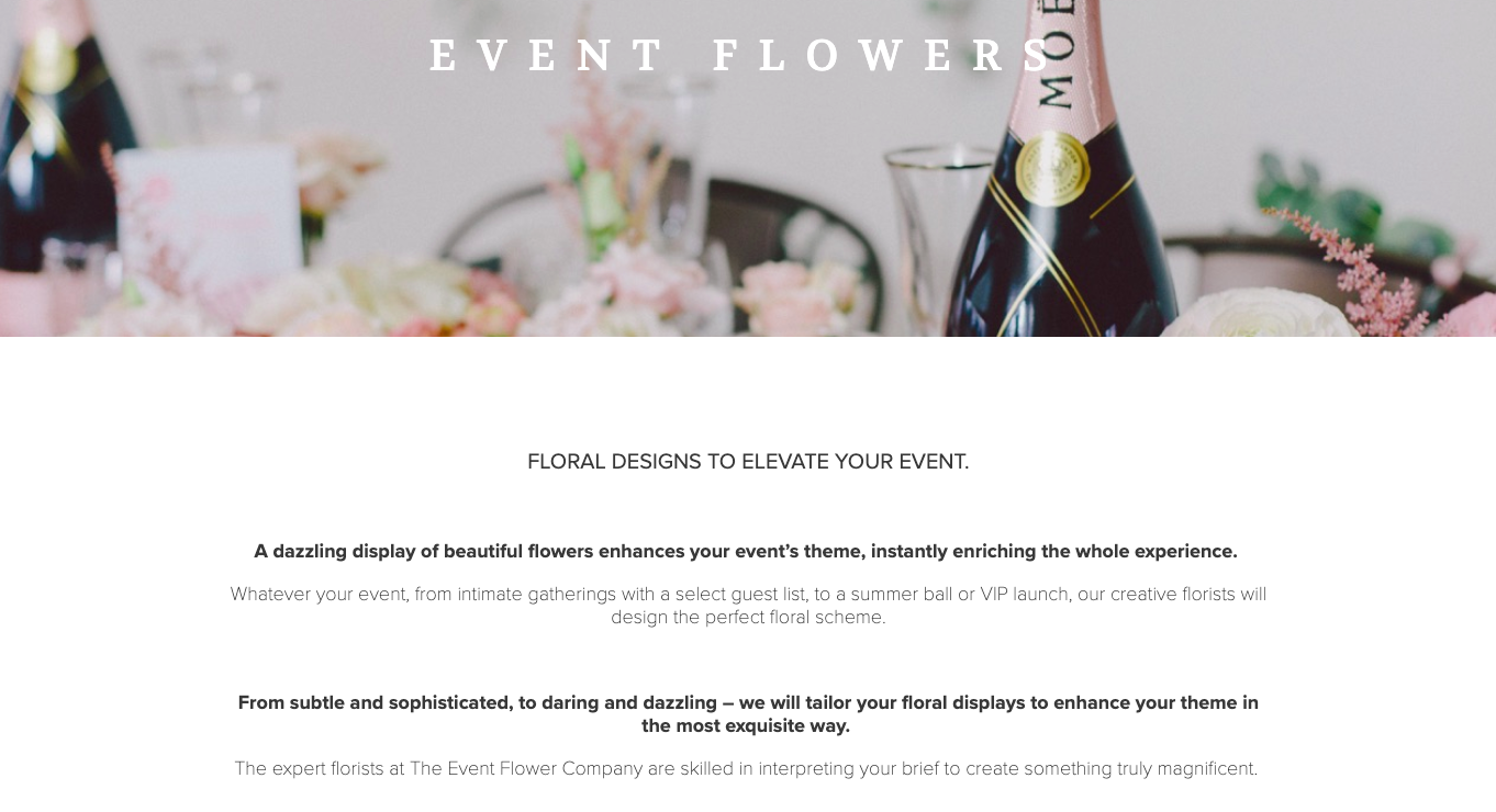 The Event Flower Company Event Flowers written by Becky Pink freelance copywriter and content creator