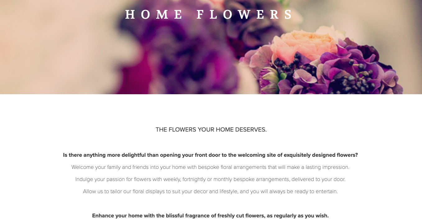 The Event Flower Company Home Flowers written by Becky Pink, freelance copywriter and content creator