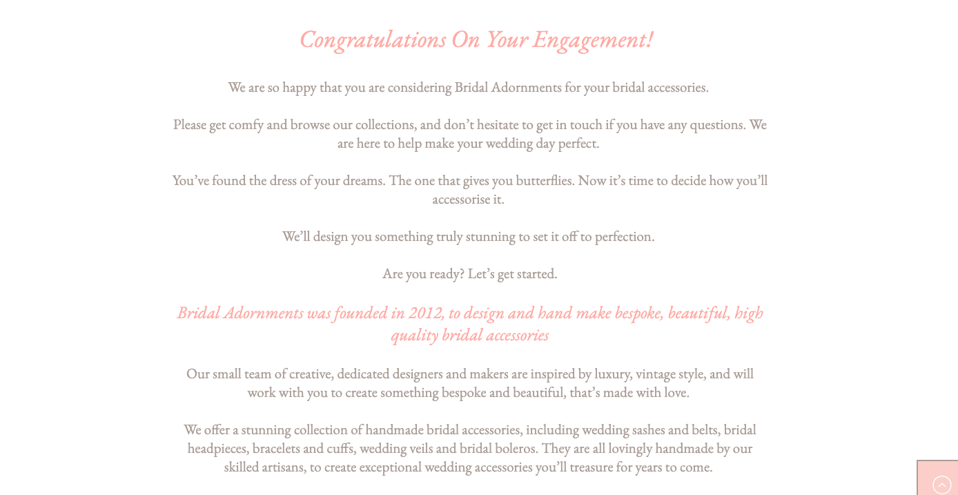 Bridal Adornments About Us written by Becky Pink, Freelance Copywriter and Brand Storyteller