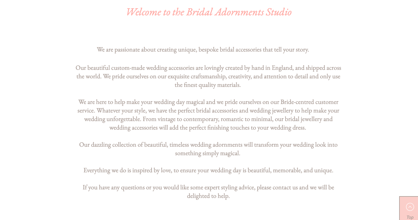 Bridal Adornments Homepage 2 written by Becky Pink, Freelance Copywriter and Brand Storyteller