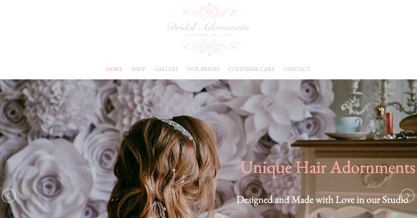 Bridal Adornments Homepage written by Becky Pink, Freelance Copywriter and Brand Storyteller