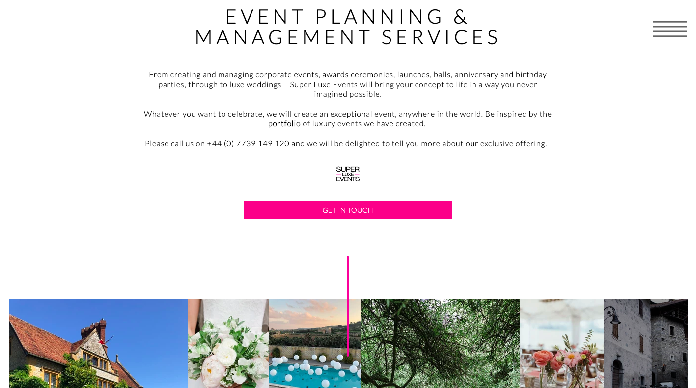 Super Luxe Events Luxury Event Management Homepage 2 written by Becky Pink, Copywriter and Brand Storyteller