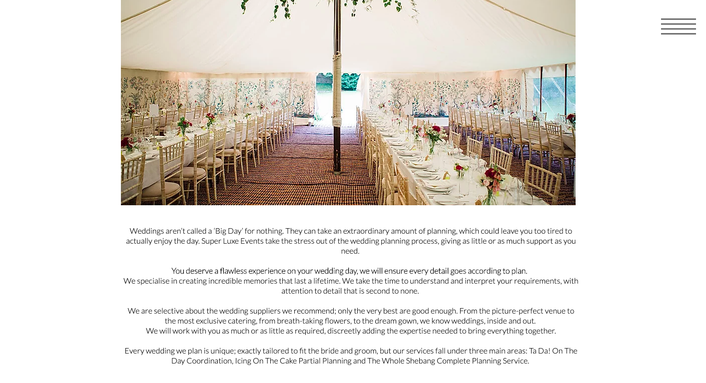Super Luxe Events Luxury Event Management Weddings Page written by Becky Pink, Copywriter and Brand Storyteller